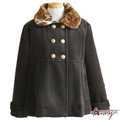 Anny時尚豹紋毛呢排釦精緻鈕釦大衣*1287咖