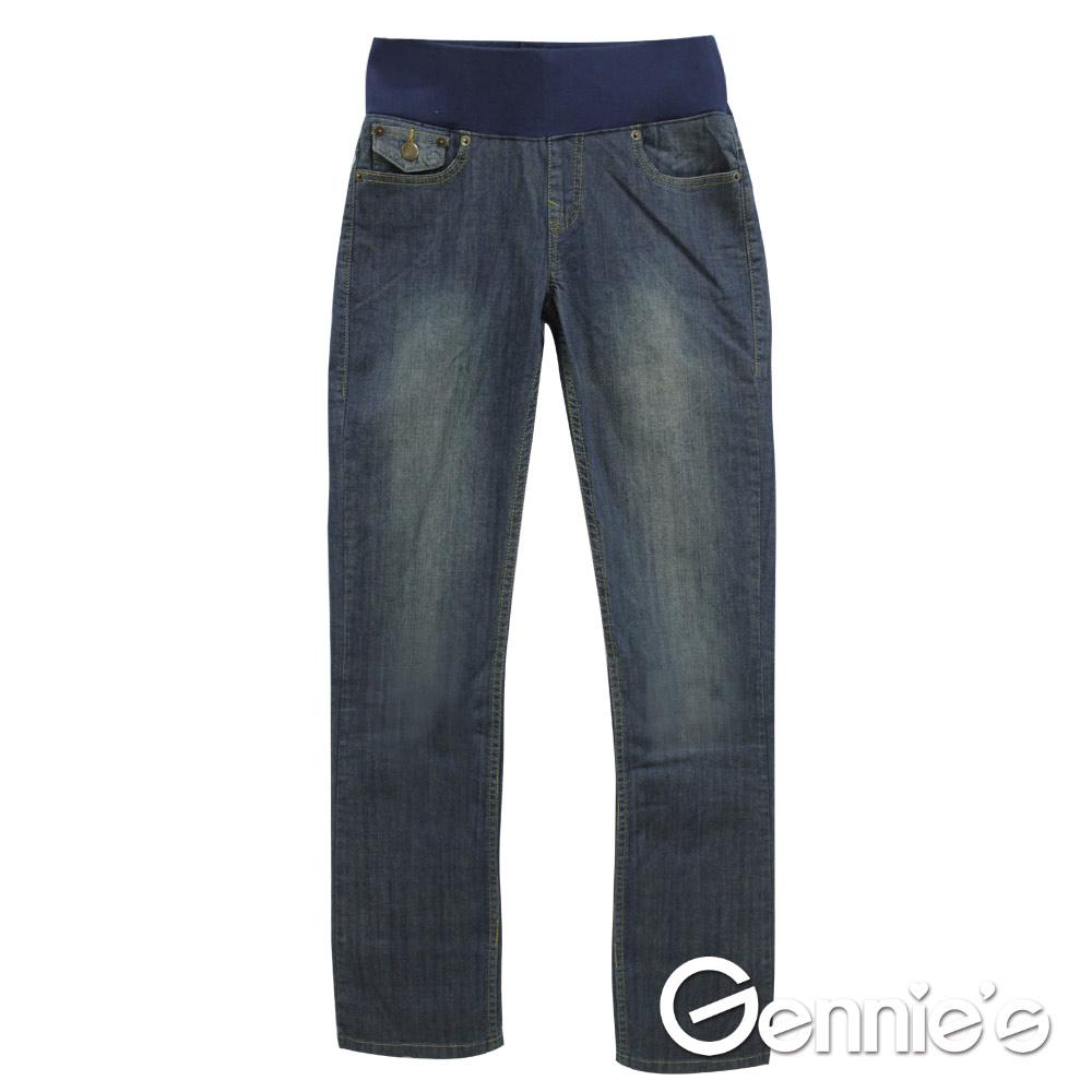 Gennie's奇妮-單寧棉質低腰春夏孕婦長褲 (G4X03)