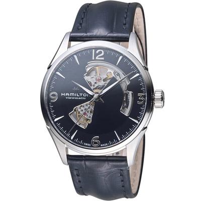 HAMILTON漢米爾頓 爵士系列OPEN HEART 80小時自動腕錶-黑/42mm