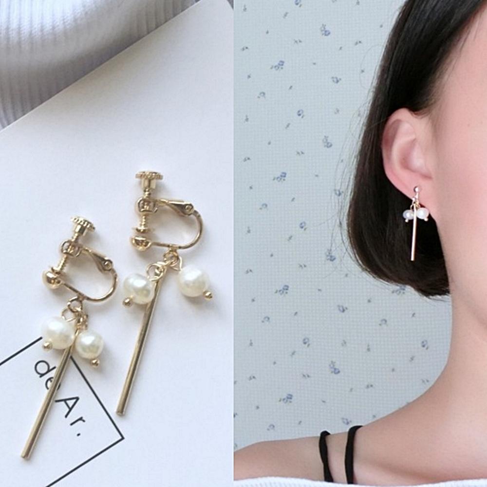 梨花HaNA無耳洞韓國手作微妙幸福小珍珠直線耳環夾式