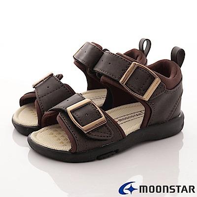 日本月星頂級童鞋-後穩定機能涼鞋-TO1803咖(中小童段)