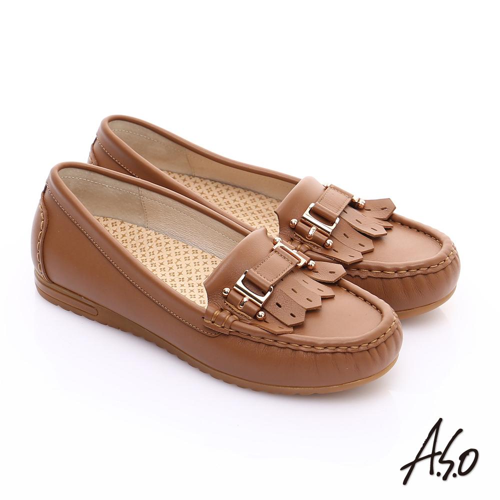 A.S.O 縫線耐走 牛軟皮奈米樂福休閒鞋 茶色