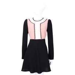 RED VALENTINO 黑粉花邊拼色長袖洋裝