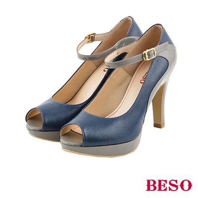 BESO 摩登風情 異材質拼接瑪莉珍魚口鞋~藍