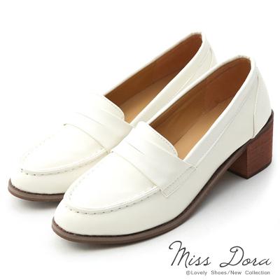 Miss-Dora-搭配滿分-百搭粗跟樂福鞋-米白