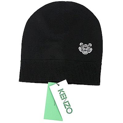 KENZO Tiger 100%羊毛黑色經典虎頭圖騰針織帽