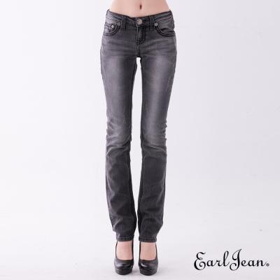 Earl Jean 黑單寧輕磨破低腰緊身直筒褲-黑色-女