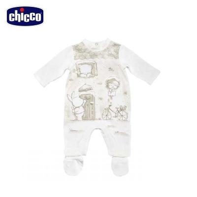 chicco典雅後開長袖兔裝加腳套-米(3個月-12個月)