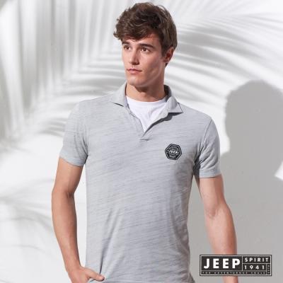 JEEP 美式經典洗舊風徽章短袖POLO衫 (灰色)