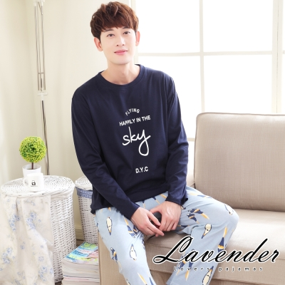 睡衣 浪漫小鳥居家情侶款睡衣(男)Lavender