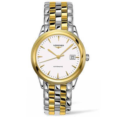LONGINES浪琴 軍旗系列簡約紳士腕錶-銀色+金色/38.5mm