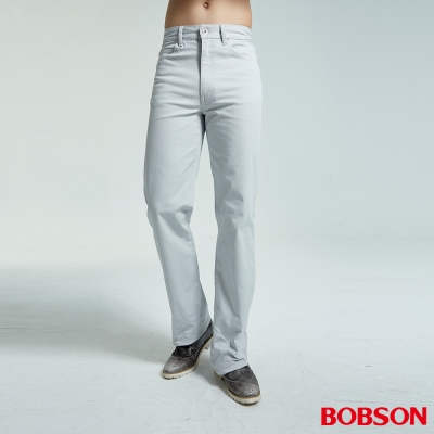 BOBSON 男款結紗伸縮淺灰直筒褲