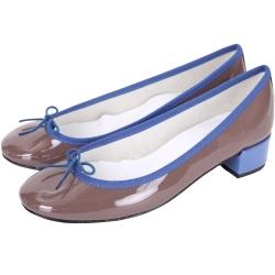 Repetto Camille 漆皮撞色蝴蝶結粗跟鞋(可可/藍)