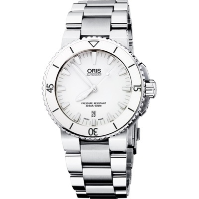 Oris Aquis 時間之海專業潛水陶瓷機械腕錶-白/43mm