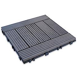 【貝力地板】太陽神DIY塑木止滑地板-1P101深灰H型(9片/箱)