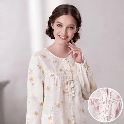 羅絲美睡衣 - 花漾序曲甜美長袖裙裝睡衣 (淡粉色)