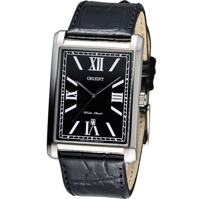 ORIENT 典雅大方形時尚錶-黑/33x47mm