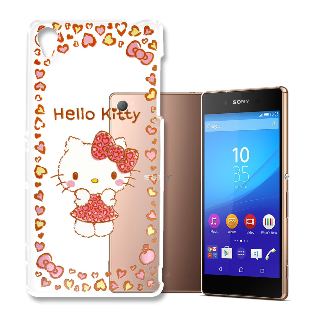 Hello Kitty 索尼 Xperia Z3 浮雕彩繪透明軟殼(甜心豹紋)
