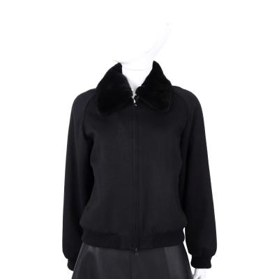 Max Mara 黑色毛領設計拉鍊外套(毛領可拆)