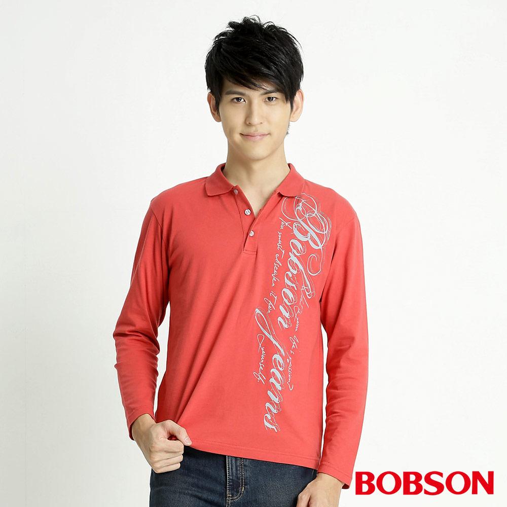 BOBSON 男款印圖POLO長袖上衣(紅26)