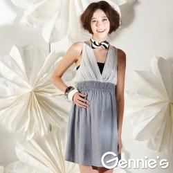 【Gennie's奇妮】性感美人V領春夏孕婦背心洋裝-灰(G1111)