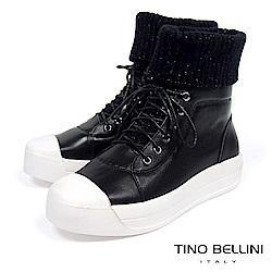 Tino Bellini皮革MIX毛線綁帶厚底休閒靴_ 黑