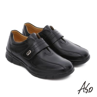 A.S.O 輕旅健步 真皮魔鬼氈奈米氣墊皮鞋 黑
