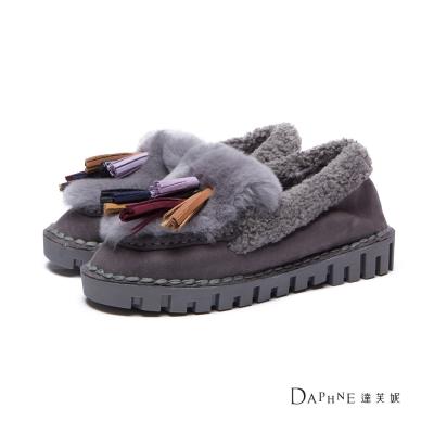 達芙妮DAPHNE-平底鞋-多色流蘇麂皮鋪毛莫卡辛鞋-灰