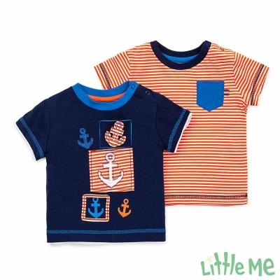 Little Me 藍底橘條船錨短袖上衣 二件組