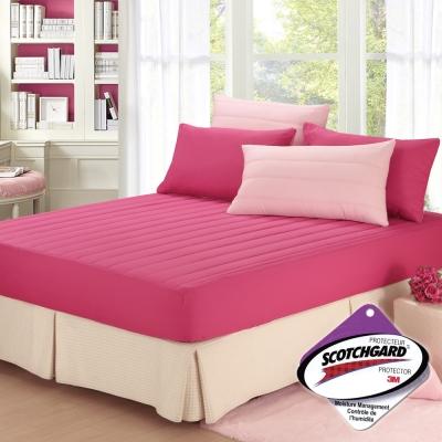 精靈工廠 愛戀Macaron馬卡龍3M吸濕排汗單人兩件式舖棉床包組-甜心粉+蜜桃紅