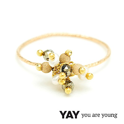 YAY You Are Young Frida 寶石花束戒指 立體款 白珍珠X星辰豆豆