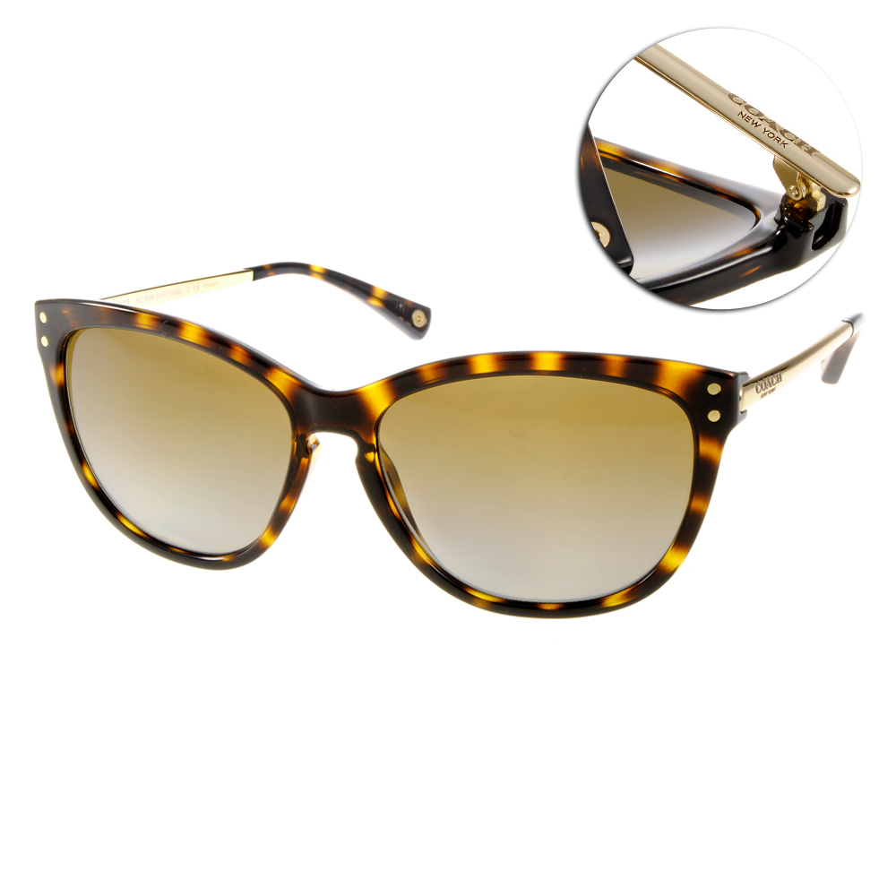 COACH太陽眼鏡 時尚貓眼系列/琥珀-金#COS8084 517013 @ Y!購物