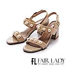 Fair Lady 優雅珍珠裝飾寬帶粗跟涼鞋 芋粉