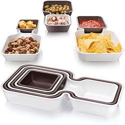 TK 堆疊式醬料點心盤(白棕6入)