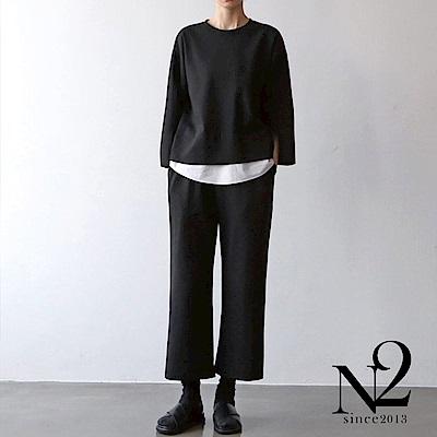 套裝 正韓圓領假兩件上衣+鬆緊帶九分褲休閒套裝(黑)N2