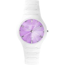 Relax Time Sweet 馬卡龍陶瓷時尚腕錶-紫x白/37mm