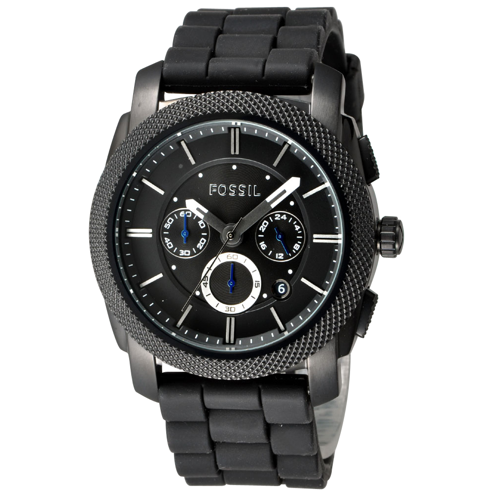 FOSSIL 星際時空三環運動腕錶-黑