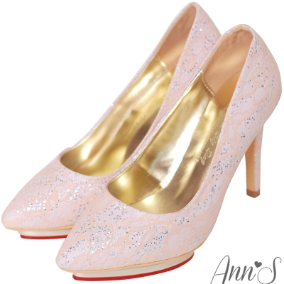 Ann'S公主宴會-細膩蕾絲亮片愛心防水台尖頭高跟鞋-粉
