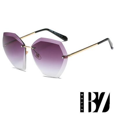 BeLiz 六角切割 立體無框漸層墨鏡 紫