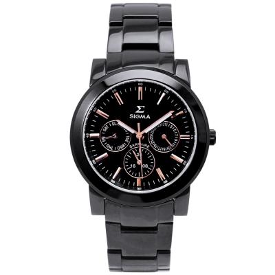 SIGMA 都會簡約三眼時尚手錶-黑X玫瑰金/37mm