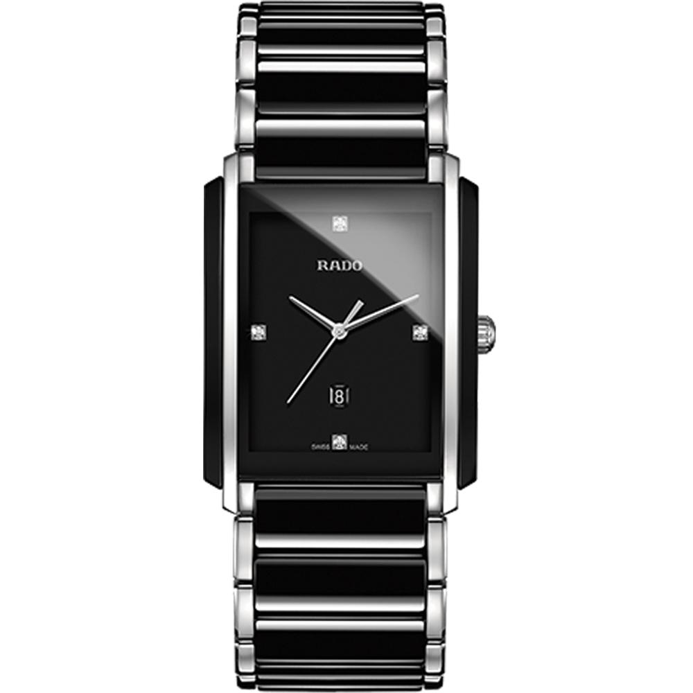 RADO 真我簡約時尚陶瓷石英腕錶-黑/31x40mm