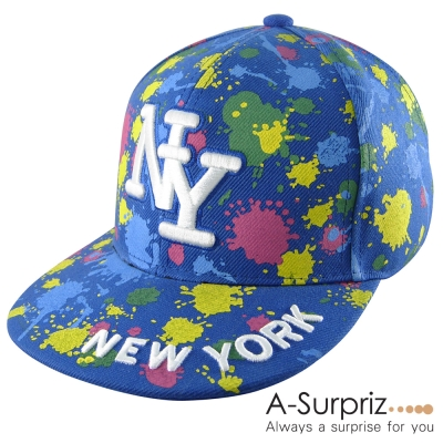 A-Surpriz 噴墨藝術塗鴨NY棒球帽(個性藍)