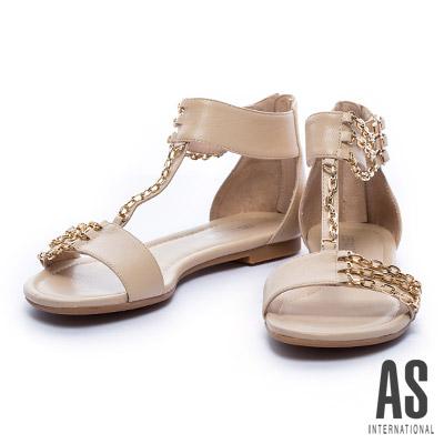 涼鞋 AS 獨特半邊金屬鍊條設計羊皮低跟羅馬涼鞋-杏