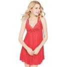 思薇爾 撩波系列連身蕾絲性感小夜衣(拉丁紅)