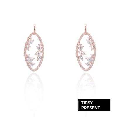 微醺禮物 耳環 正韓 銀針 鍍K金 橢圓造型鏤空 鑲鋯石 耳針