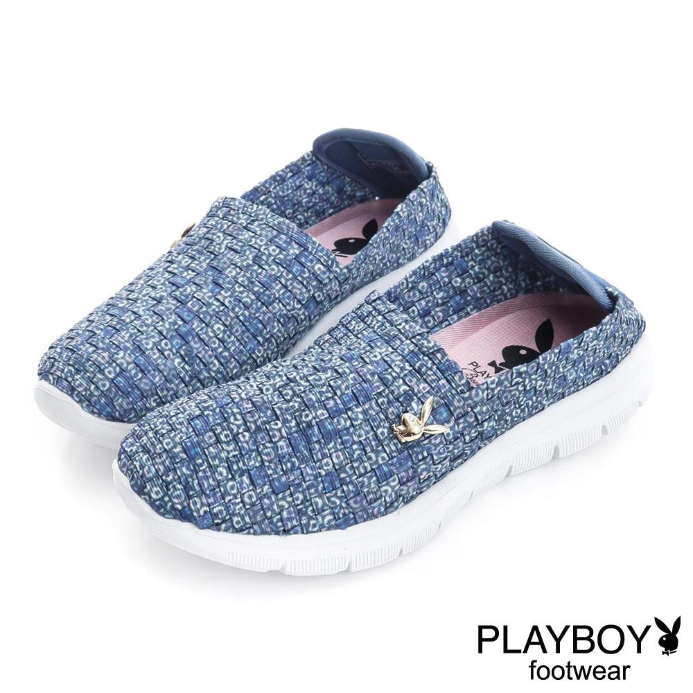 PLAYBOY 節奏輕調 彈力編織休閒便鞋-藍(女)