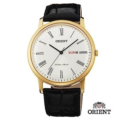 ORIENT 東方錶 CLASSIC DESIGN系列 羅馬數字日期星期顯示石英錶 金色