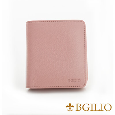 義大利BGilio-高質感牛皮短夾-粉紅色 1969.313-14A