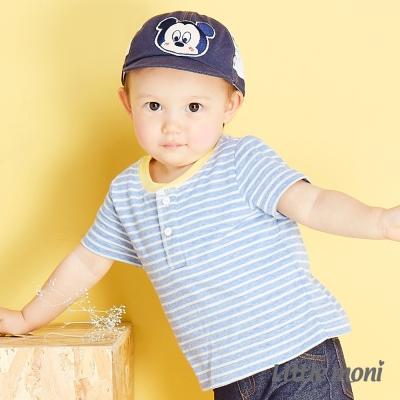 Little moni 夏日條紋包屁衣 亮天藍