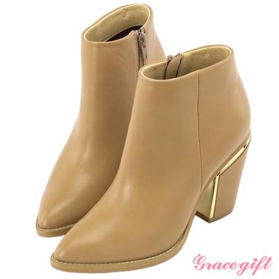 Grace gift X Wei唐葳-簡約個性金屬粗跟短靴 杏